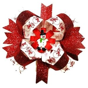 "Other - Snowman 6"" Stacked Boutique Hair Bow"